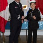 Rodney Turcotte presents pin to cadet